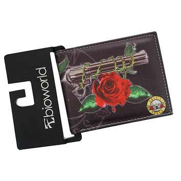 Famous Rock Band GUNS N ROSES Printed Leather Wallets 2 Fold Women's Men's Vintage Purse Wallet Slim Bill Money Bag Card Holder