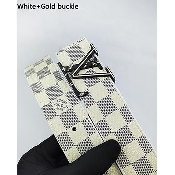 LV fashion hot selling men's and women's check with buckle print casual belt White+Gold buckle