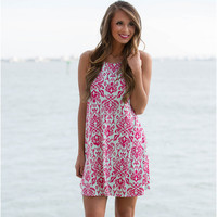 Pink Printed Sleeveless Mini Dress