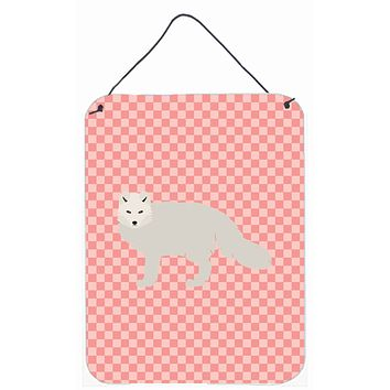 White Arctic Fox Pink Check Wall or Door Hanging Prints BB7877DS1216
