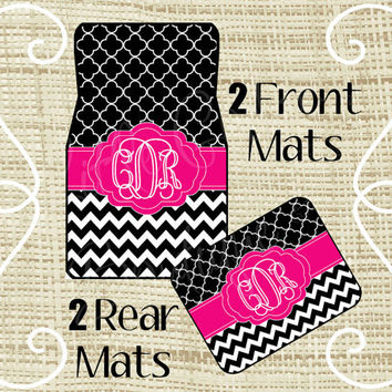 Custom Personalized Set of Car Floor Mats - Front and or Rear Back, Monogrammed Car Mats, Quatrefoil, Chevron Black Pink