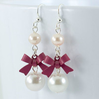 Maroon Ribbon Earrings with Light Pink Pearls, Surgical Steel, Zinta Collection