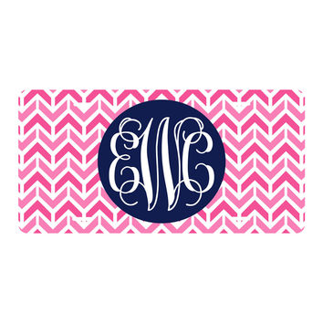 Hot Pink Aztec Chevron License Plate
