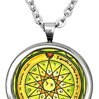 """Solomons 4th Mercury Seal for Knowledge of All Things 1"""" Stainless Steel Pendant & 24"""" Chain Necklace"""