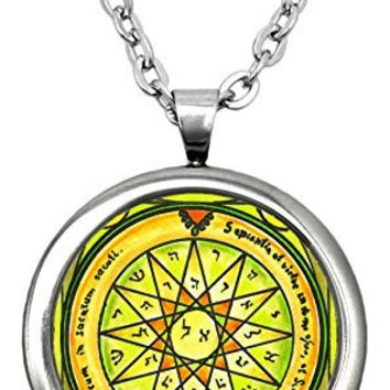 "Solomons 4th Mercury Seal for Knowledge of All Things 1"" Stainless Steel Pendant & 24"" Chain Necklace"