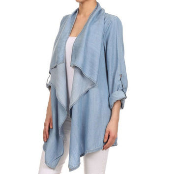 CT112 Slouchy Women Waterfall Open Front Denim Coat Jacket Rolled Up Long Sleeve Drape Casual Outwear Outfits 2016 Plus SizeS-XL