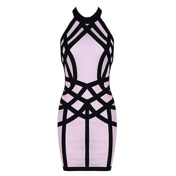 Lai- Nude Mesh Contour Mini Dress
