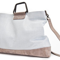 White Leather Tote Bag / Sac Bag / Over Size Shoulder Bag / Cross Body Travel Bag / Laser Cut Pattern Leather Purse / Handbag - Sabrina