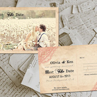 "50 Wedding Save The Date Cards - FloralPark Vintage Lace Photo Personalized 4""x6"""