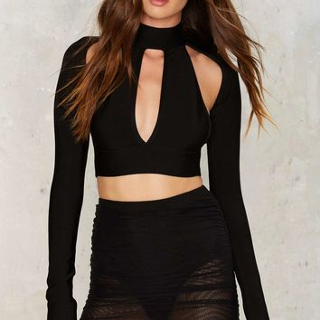 BOSSA Catania Bandage Crop Top - Black