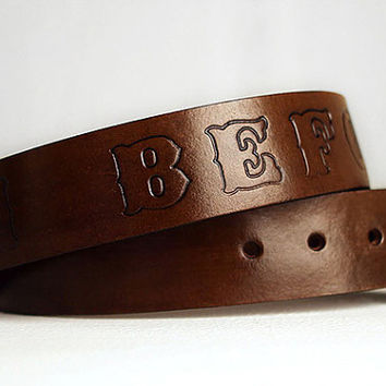 Custom Leather Name Belt / Personalized / Coffee Dyed Custom Leather Belt / Custom Fathers Day Gift