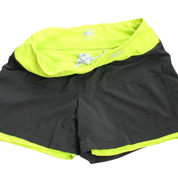 Sport Exercise Workout Hiking Yoga Anti Exposure Hot Shorts/ Fluorescent Green
