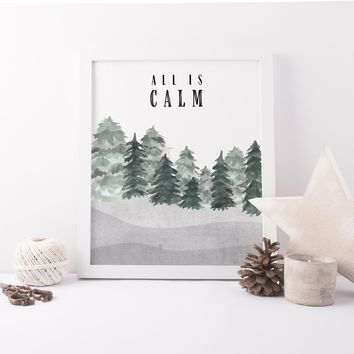 All is Calm Modern Minimalist Christmas Wall Art Print