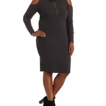 Plus Size Cowl Neck Cold Shoulder Sweater Dress
