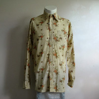Mens 60s Floral Dress Shirt Vintage Lipson Cream Peach Long Sleeve 1960s Mens Top 15.5