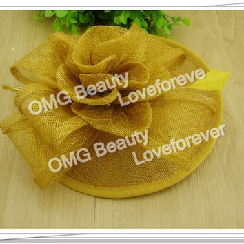 Free shipping  16colors avaliable high quality fascinators nice feather hair accessories sinamay  hats wedding headwear OF1507