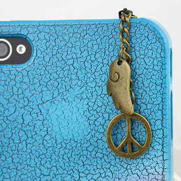 3.5mm Retro Bronze Peace Symbol   Dust-proof Plug  for iphone 4s,iPhone 4,iPhone 3gs,iPod Touch 4,HTC,Nokai,Samsung,Sony