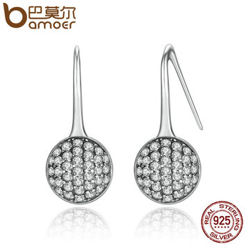 925 Sterling Silver Round Dazzling Droplets,Clear CZ Drop Earrings Jewelry