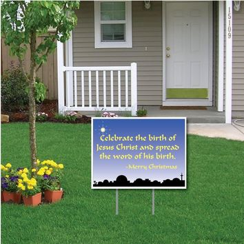 Celebrate the Birth of Jesus Christ Christmas Lawn Display - Yard Sign