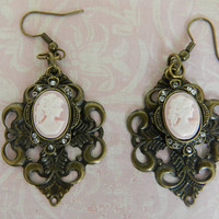 Cameo Earrings Lady Cameo Earrings  Antique Bronze Filigree Victorian Earrings 18 x 25 mm