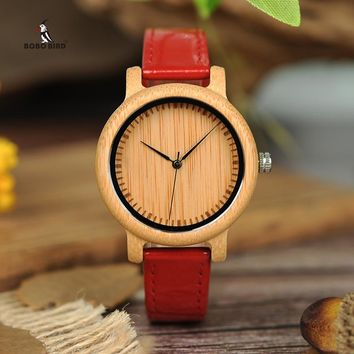 Women's BOBO BIRD Bamboo Quartz Watches With Leather Band.    Available in Red, Periwinkle and Pink.   ***FREE SHIPPING***