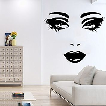 Wall Decal Face Eyes Lips Girl's Face Vinyl Sticker Decals Home Decor Bedroom Art Design Interior NS554