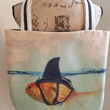 Goldfish - shark - tank - fish - bowl - canvas - lined - beach - bag - purse - tote