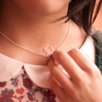 Star Necklace. Silver Plated Star Necklace. Dainty Star Necklace. Galaxy Necklace. Star Jewellery