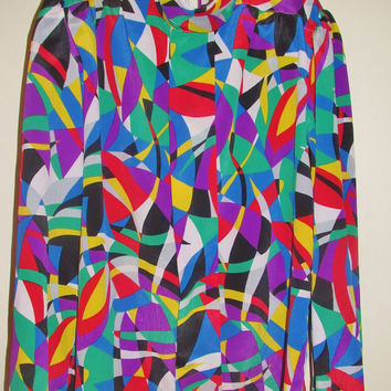 Women's Vintage 80's Geometric Rainbow Patterned Mock Neck Long Sleeve Shirt Sz 6