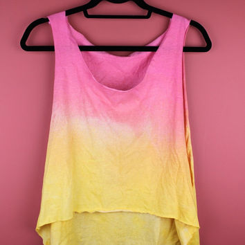 Pink and Yellow Ombre Hi-Lo Tank