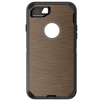 DistinctInk™ OtterBox Defender Series Case for Apple iPhone / Samsung Galaxy / Google Pixel - Brown Stainless Steel Print