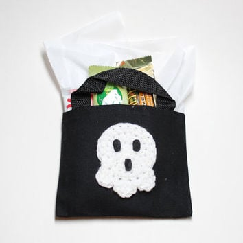 Ghost Trick Or Treat Bag, Mini Gift Bag, Halloween Goodie Bag, Candy Tote