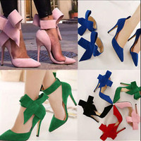 New Women Butterfly Pointed Stiletto High Heels Big Bow Tie Pumps Wedding Shoes