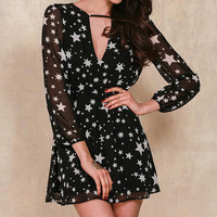 V-Neck Star Printed Mini Dress