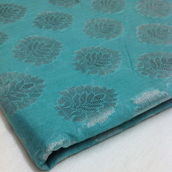 Indian Fabric - Sea green and Silver - Chanderi Silk Fabric