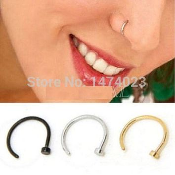 ac ICIKO2Q FD737 Titanium Silver Black Gold Nose Hoop Ring Earring Body Piercing fake nose septum 1.0*10mm