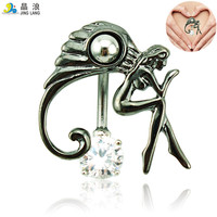 Brand New Belly Button Rings Surgical Steel Black Barbells Angel Navel Piercing Jewelry Free Shipping