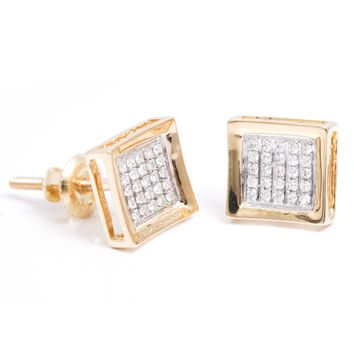 Diamond 0.11 Ct Men Stud Earrings with 10K Solid Gold