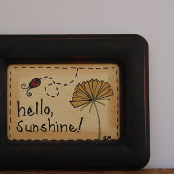 Hello sunshine wooden frame, Dandelion picture frame, Country home decor lady bug frame, Distressed wood frame, Cottage chic decor frame