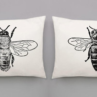 Honey Bees Pillowcases | Screen Printed Male & Queen Honey Bees Pillow Case Set