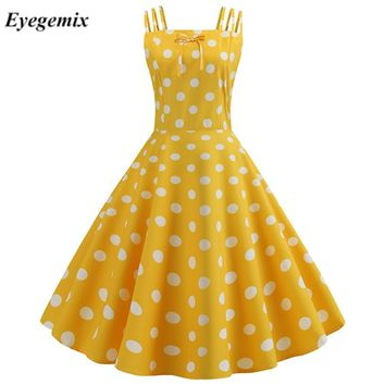 Summer Women Hepburn Dresses Yellow Retro Robe Vintage Dresses 50s 60s Rockabilly Pin Up Polka Dot Swing Dress Vestidos