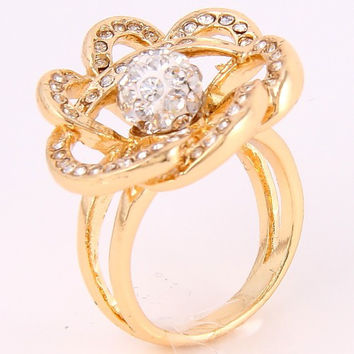 Gold Crystal Flower Ring