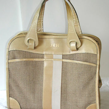 Brown Tweed Tote  Vintage Weekender Travel Bag