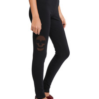 Black Skull Mesh Leggings