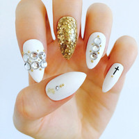Stiletto nails classy white gold stud nails