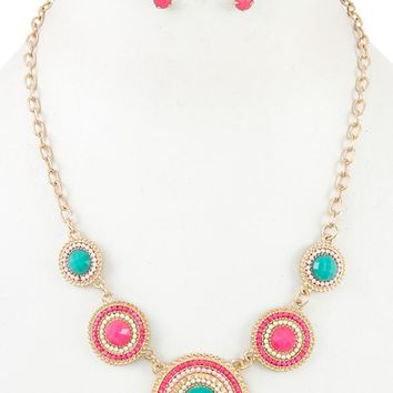 Ladies round beaded link bib necklace set