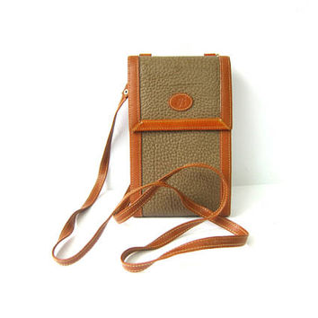 Small Vintage Wallet Purse w Crossbody Strap Tan Brown Taupe Preppy Crossbody Across Body Bag Billfold Wallet with Strap Leather Trim