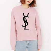 YSL Fashion Women Men Casual Print Long Sleeve Velvet Sweater Top Sweatshirt Pink