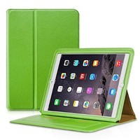 iPad Air 2 Case 2014, Benuo [Folio Smart Series] [Wallet Style] Flip PU Leather Case [Stand Feature] [Card Slots] with Smart Cover Auto Sleep / Wake Function for Apple iPad Air 2 (Green)