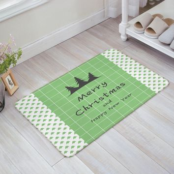 CHARMHOME Festival Decor Doormat Winter Holidays Themed Xmas Tree Indoor/Outdoor/Front Welcome Door Mat, 18 x 30 Inch, Green